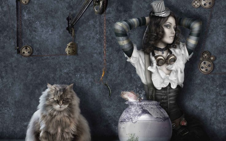 Cat fish girl steampunk gothic dark fantasy wallpaper 1920x1200 736x460