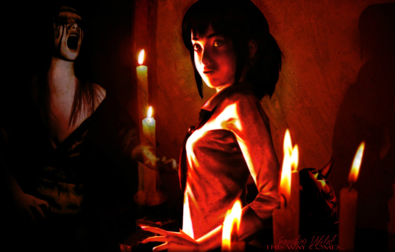 Wallpaper fear the victim candles Ghost ghost otherworldly 1332x850