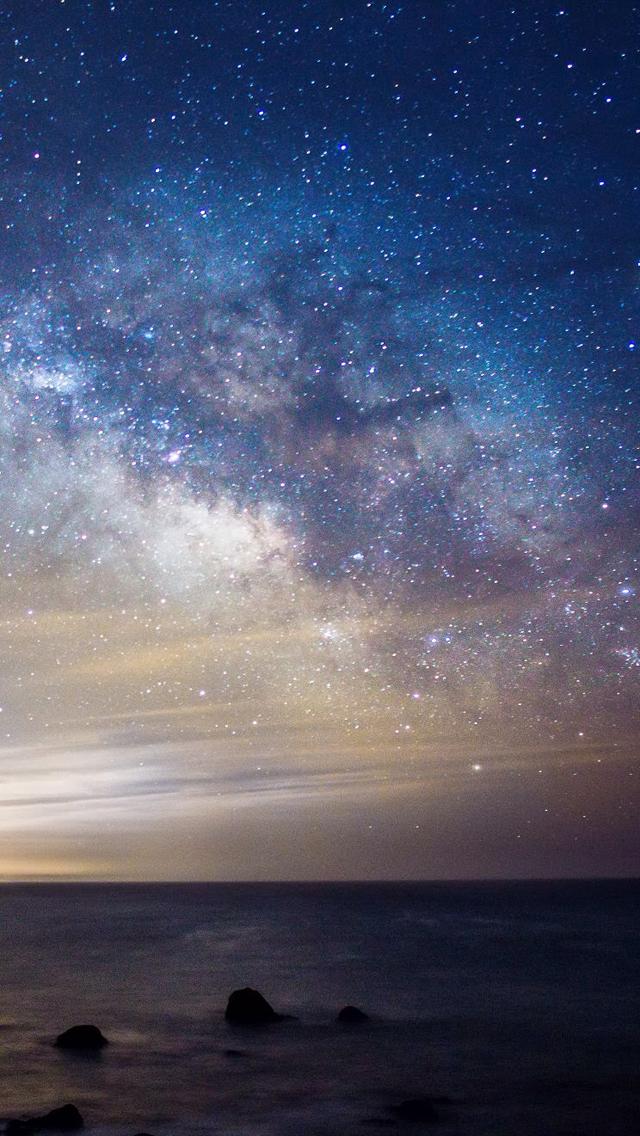 Night Sea Milky Way Wallpaper   iPhone Wallpapers 640x1136