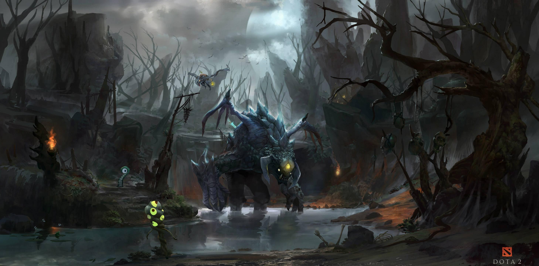 Roshan Dire Jungle   Dota 2 Wallpaper 2917x1437