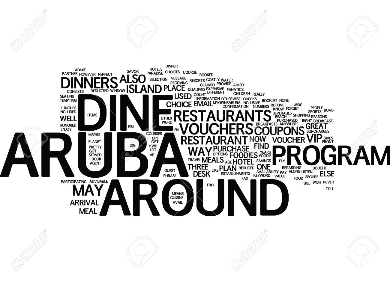 ARUBA DINE AROUND Text Background Word Cloud Concept Royalty 1300x938