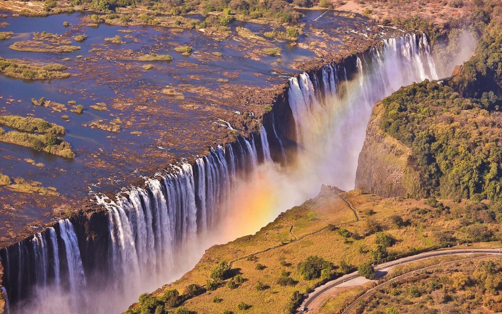 All Size Wallpapers Zimbabwe Zambia Border Victoria Falls 1600x1000