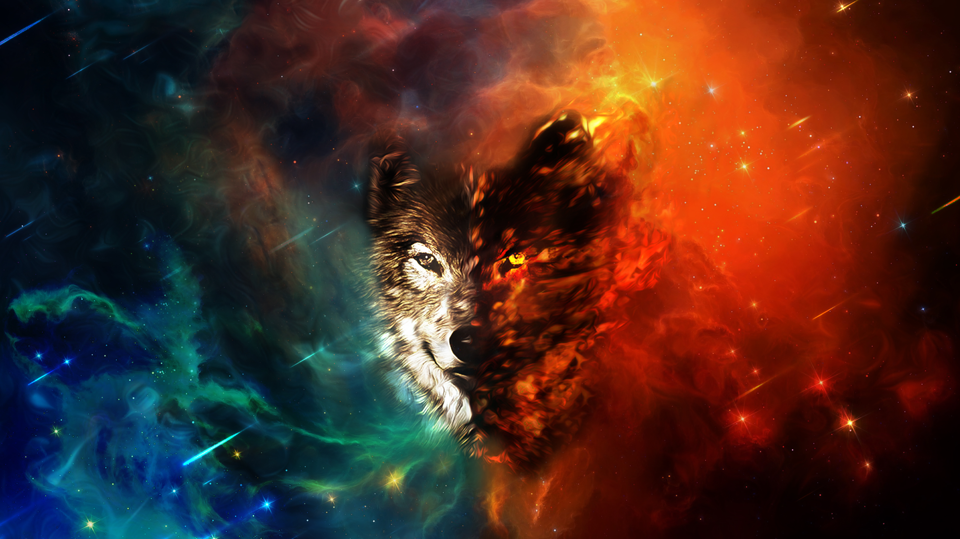 Wolf Space Wallpaper HD by Oblivigate 3780x2126