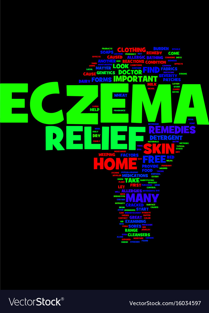 Methods that aid in eczema relief text background Vector Image 722x1080
