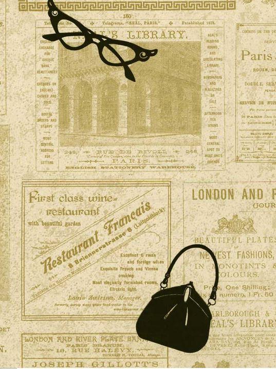 French Newsprint Wallpaper Wallpaper french newsprint ads 537x718