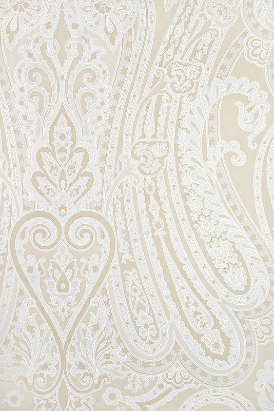 White and cream paisley wallpaper   mulberry Cream Ivory and White 534x801