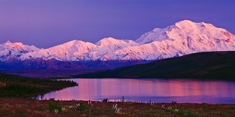wallpaper background Fall Alpenglow Mount McKinley Denali 1440x720