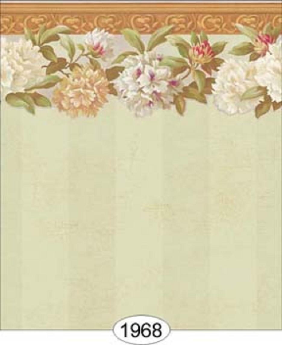 Dollhouse Wallpaper Rhododendron Stripe with Border in Seafoam Green 936x1144