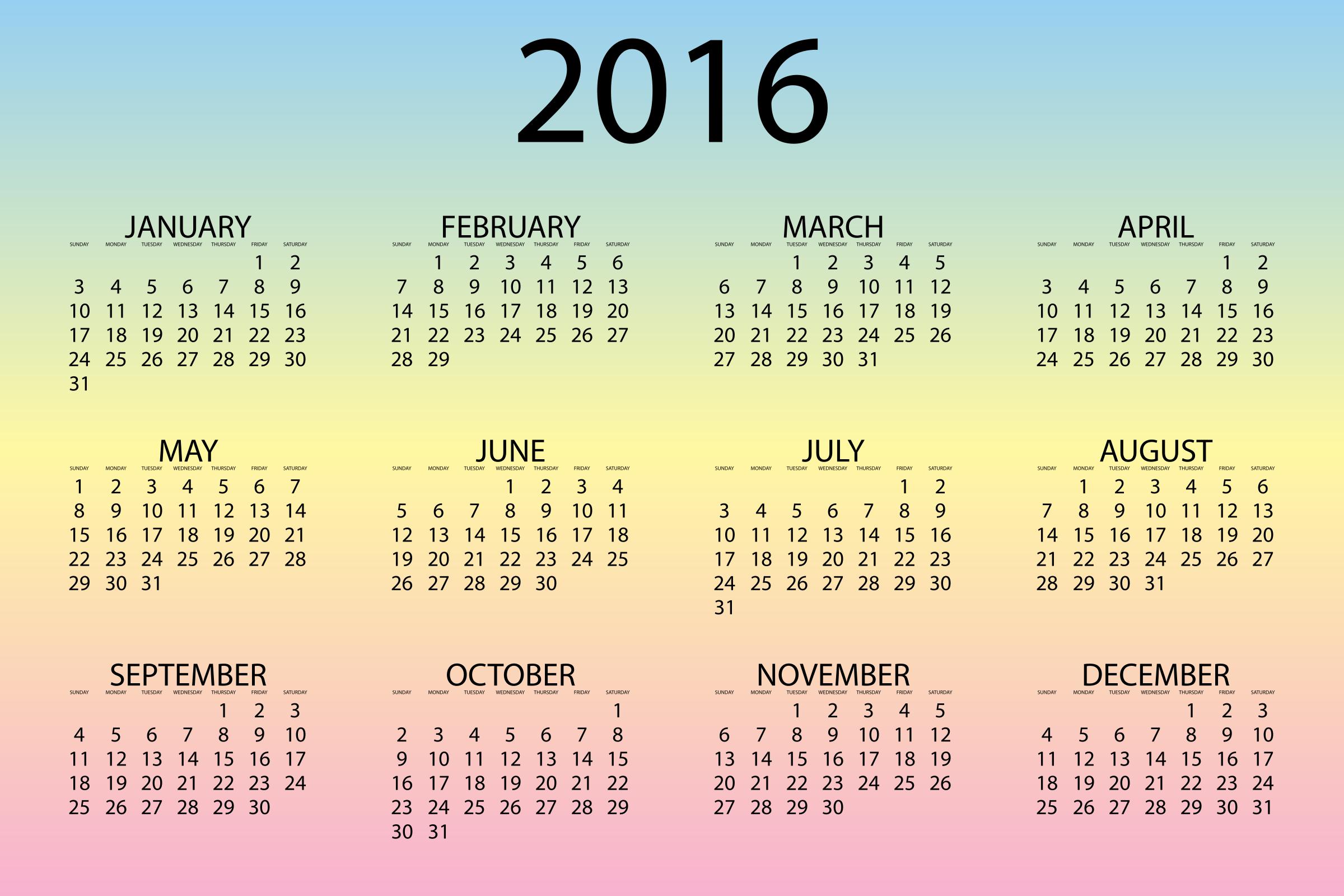 2016 Calendar Pastel by GDJ 2400x1600
