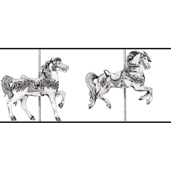 Toile Carousel Black White Prepasted Wall Border   Wall Sticker Outlet 600x600