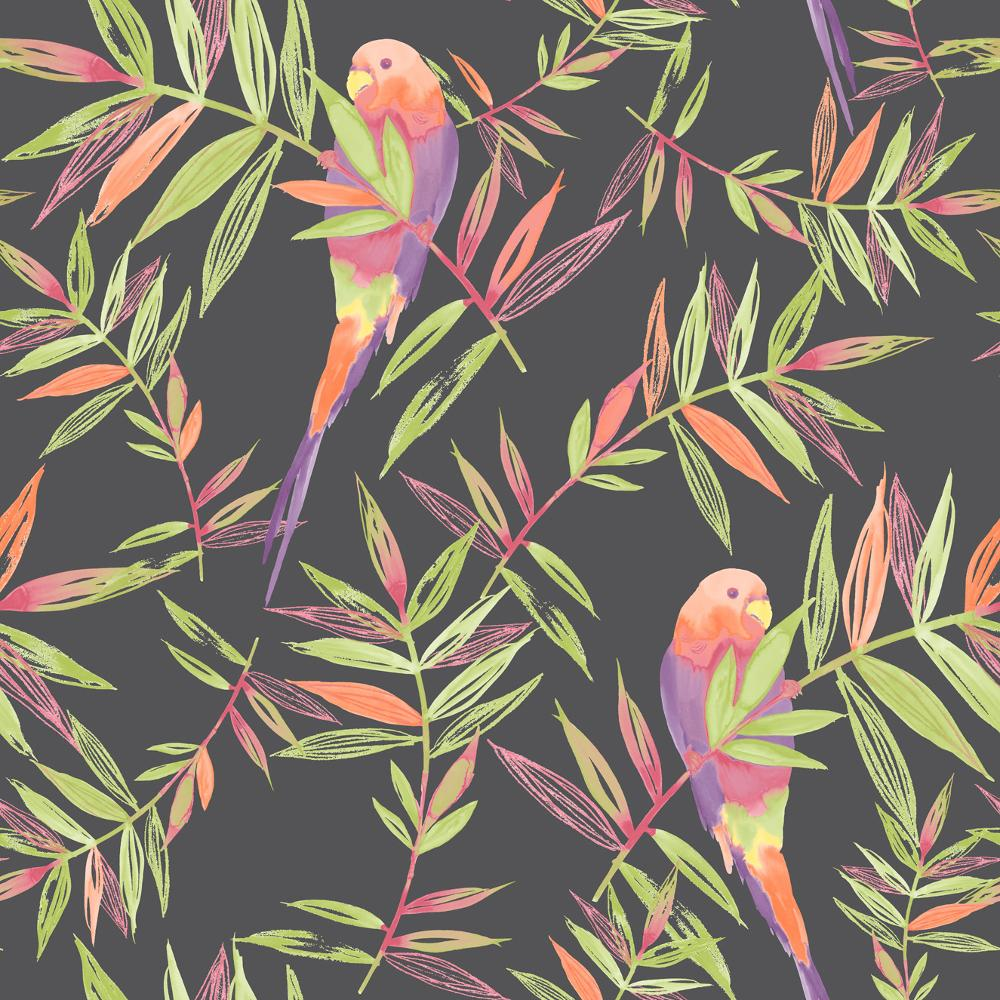 PARROTS BIRD PATTERN TROPICAL LEAF LEAVES PAINTED MOTIF WALLPAPER ROLL 1000x1000