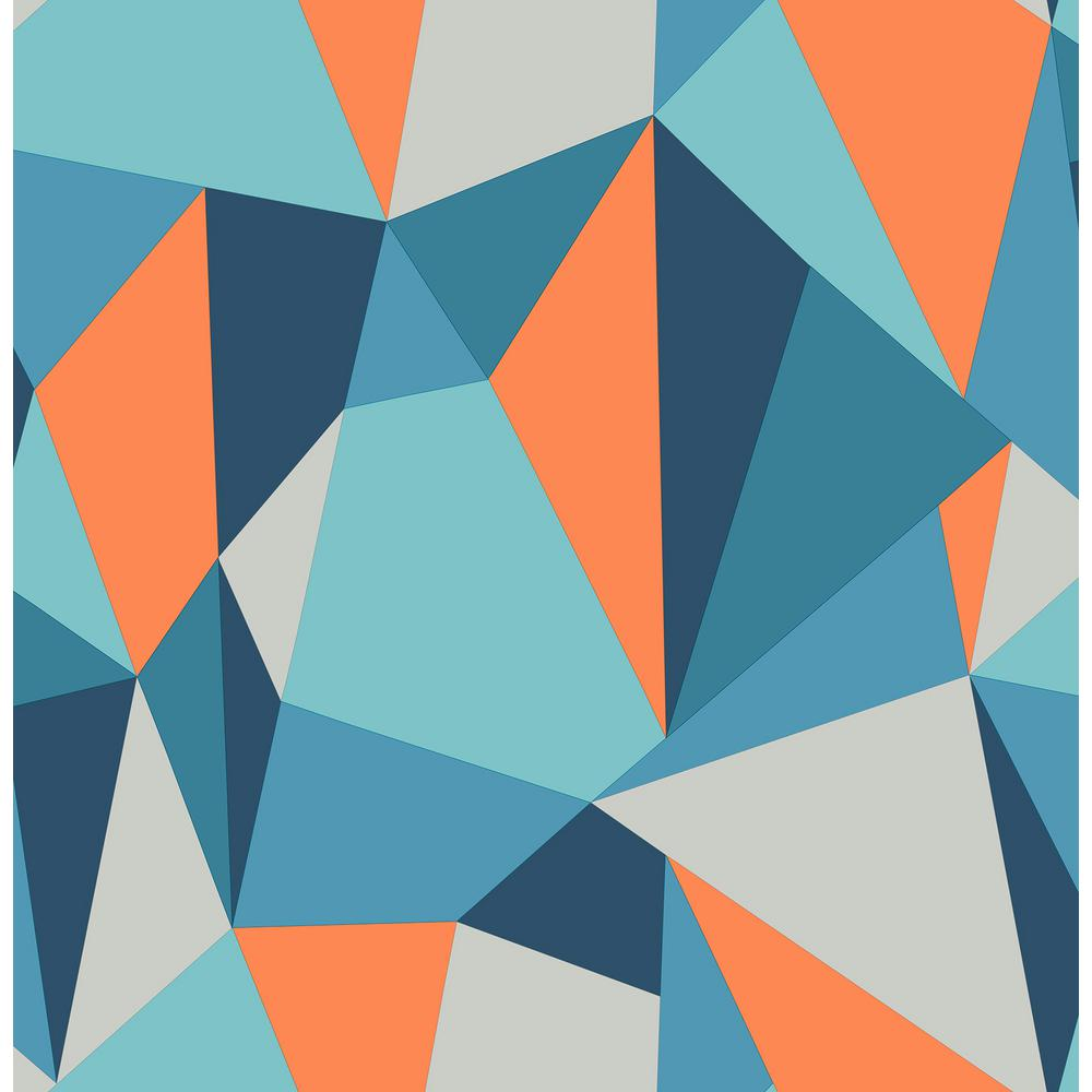 Brewster 8 in x 10 in Kline Blue Facet Wallpaper Sample 1000x1000