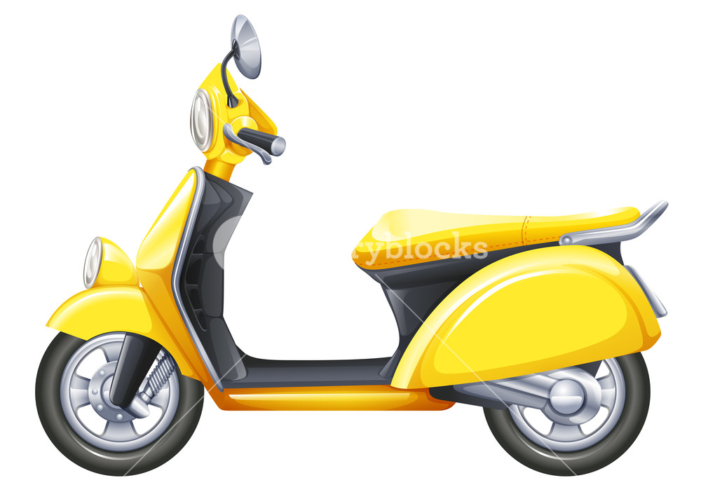 Illustration of a yellow scooter on a white background Royalty 1000x712