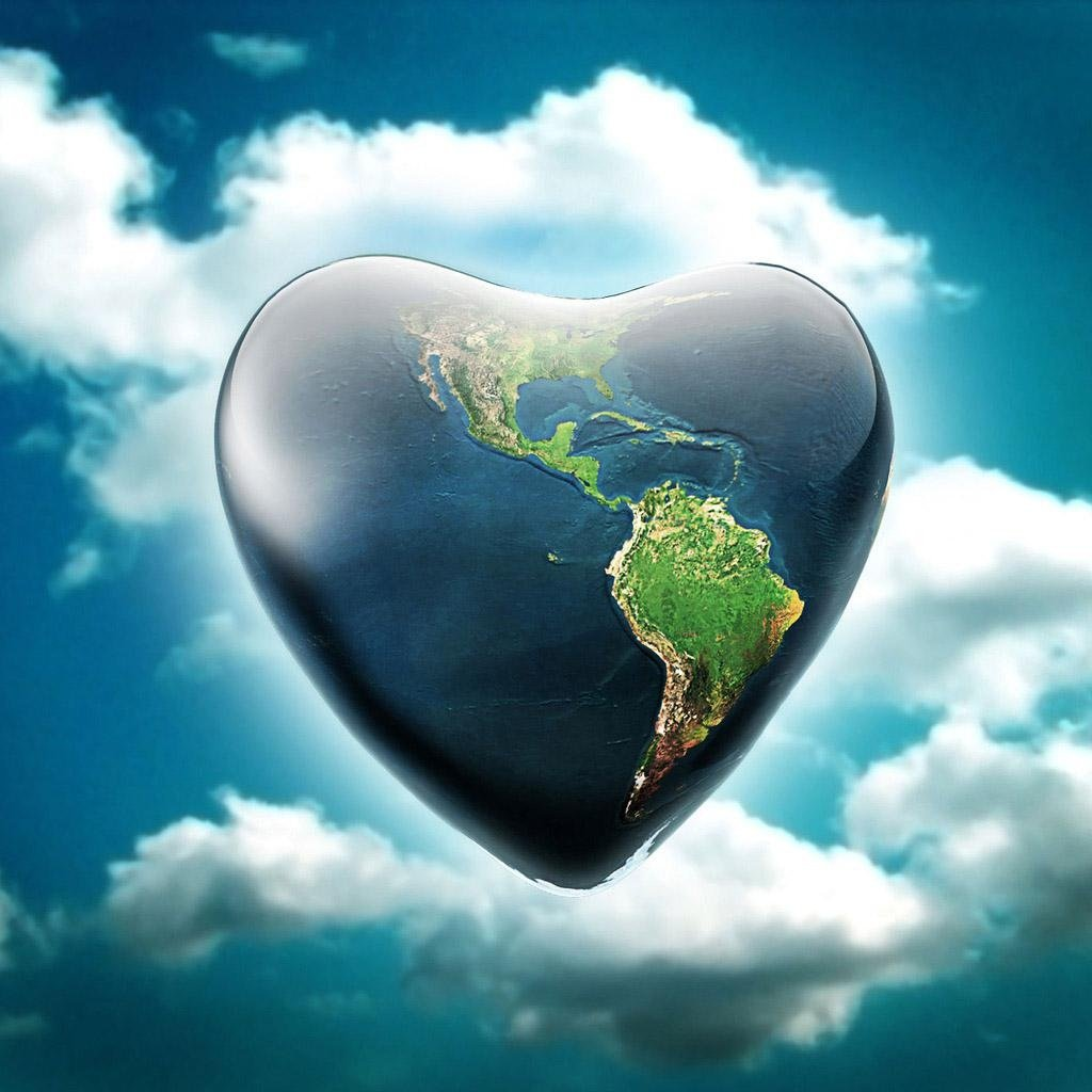 Heart Planet wallpaper background 3D wallpapers Acer Iconia Tab 1024x1024