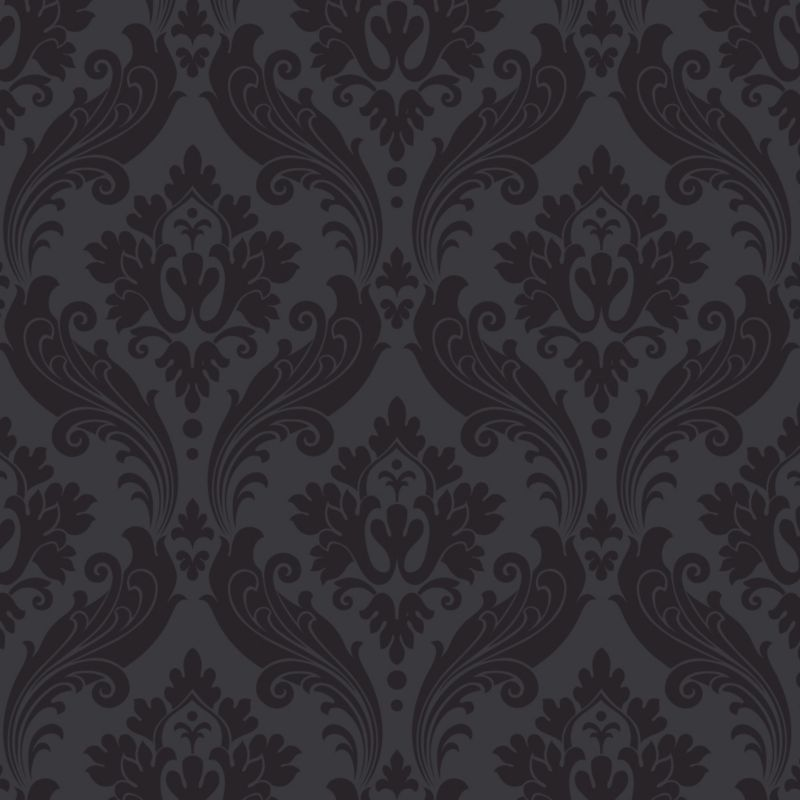 Vintage Paste the Wall Wallpaper in Black with Flock finish by Kelly 800x800