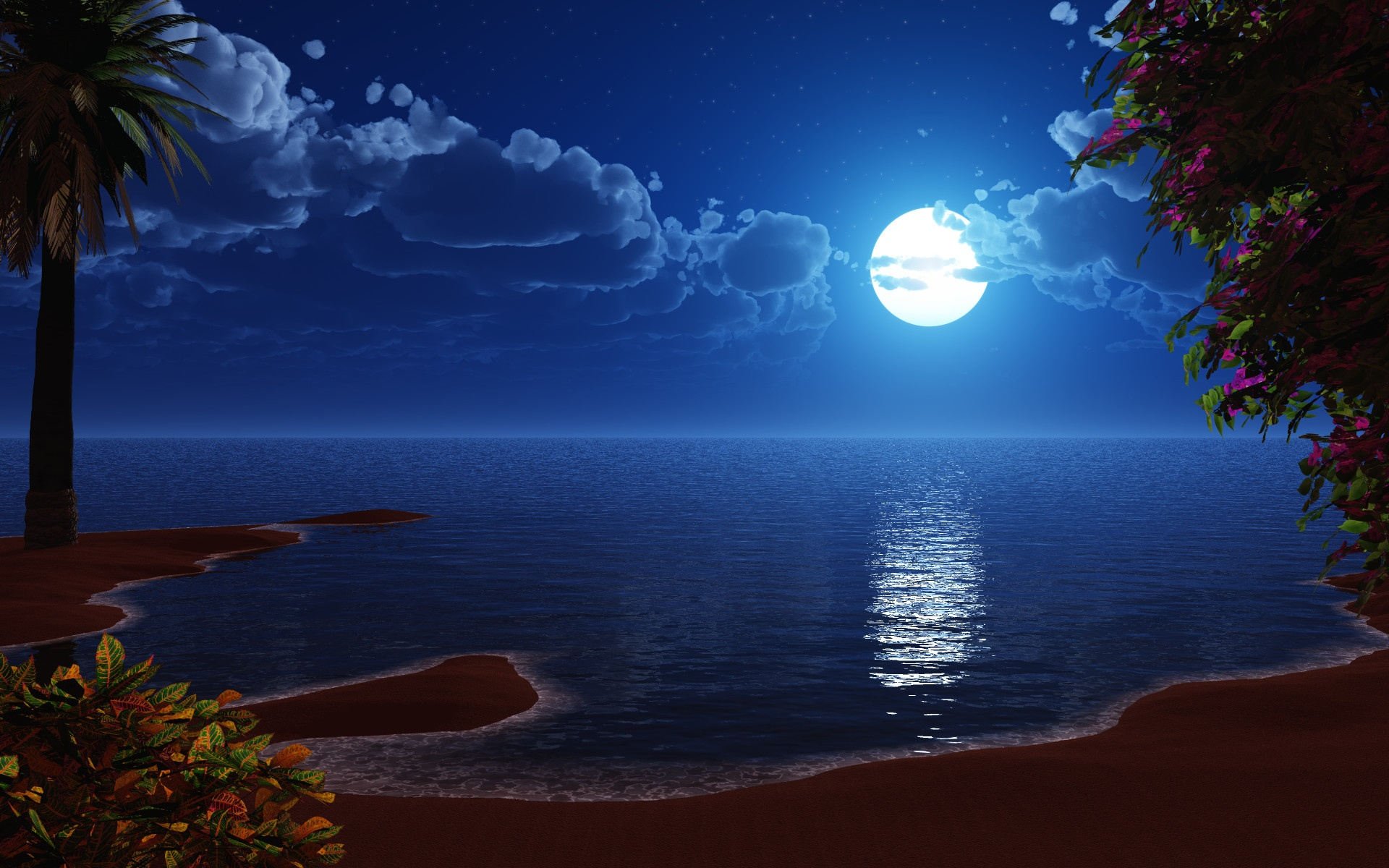 The Night Moon Shining Over The Ocean Shore desktop wallpaper 1920x1200