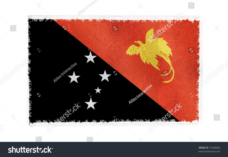 Flag Papua New Guinea On Old Stock Illustration 15358066 1500x1038