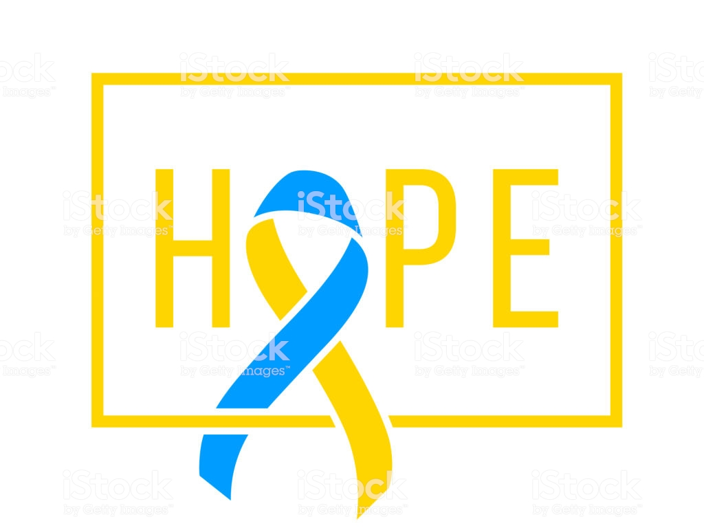 World Down Syndrome Day March 21 Realistic Blue Yellow Ribbon 1024x768