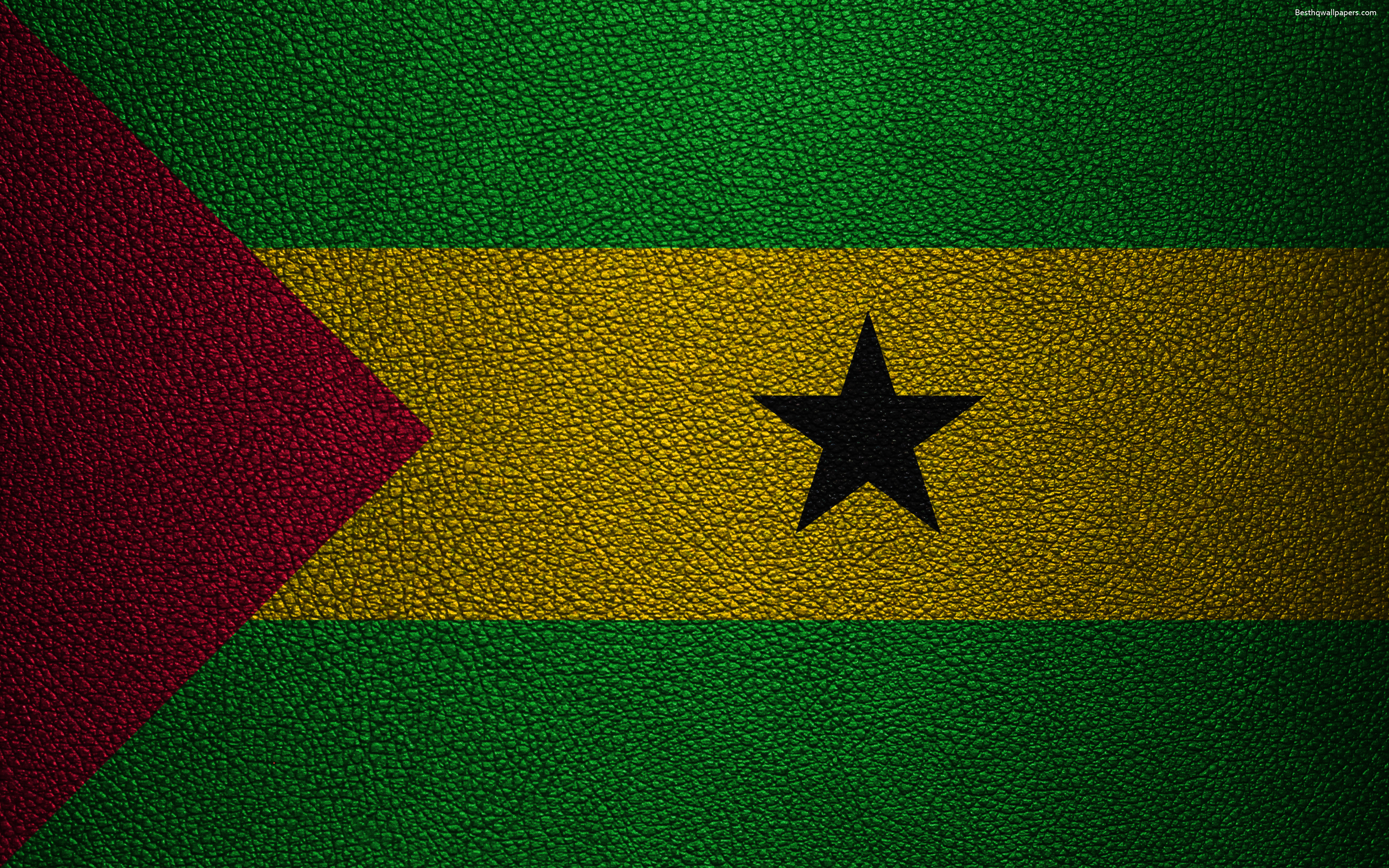 download Download wallpapers Flag of Sao Tome and Principe 3840x2400