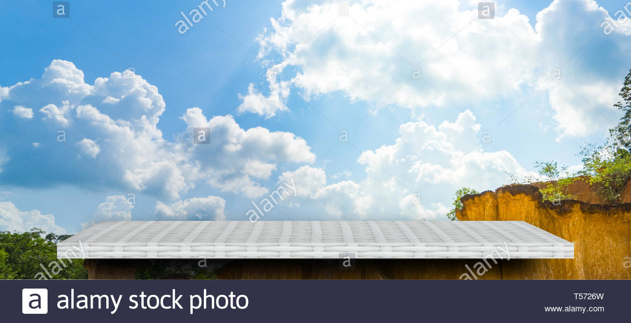 Empty white shelf on gray nature cliff background for product 1300x666