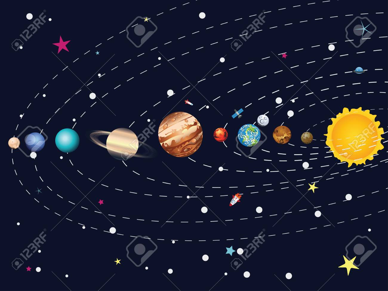 Cartoon Parade Of Colorful Planets Outer Space Background Royalty 1300x975