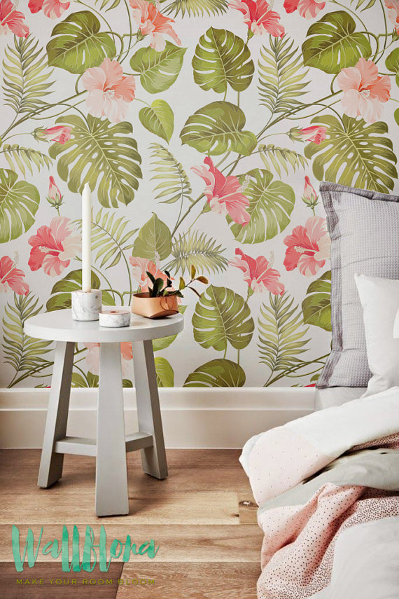 Wallpaper   Hibiscus Removable Wallpaper   Palm leaves Wallpaper 570x855
