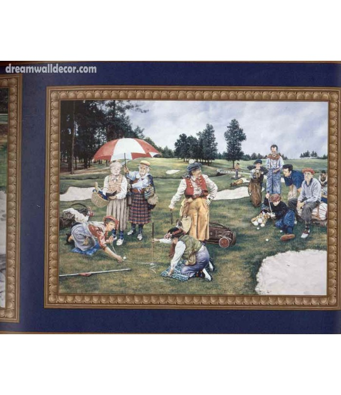 Dark Blue Framed Country Golf Scene Wallpaper Border 700x812