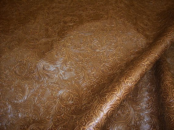 Laredo Embossed Floral Faux Leather vinyl upholstery fabric per yard 570x427