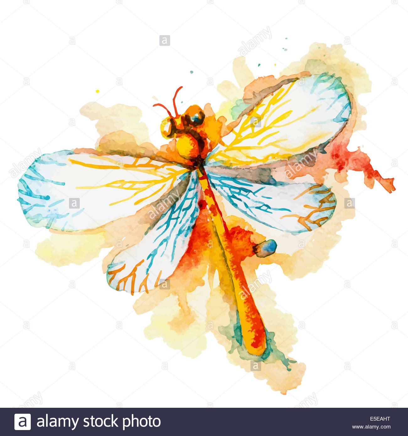 Greeting background with beautiful watercolor flying orange 1300x1390