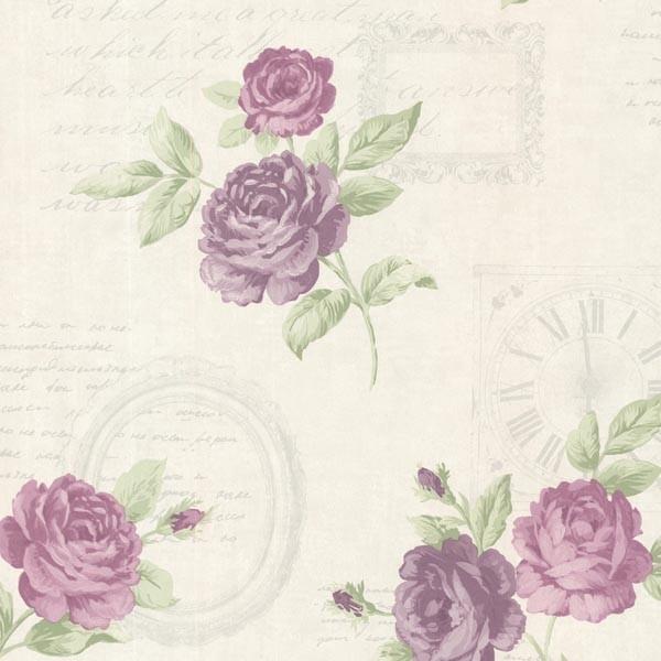 Venetia Violet Vintage Rose Toss Wallpaper Bolt traditional wallpaper 600x600
