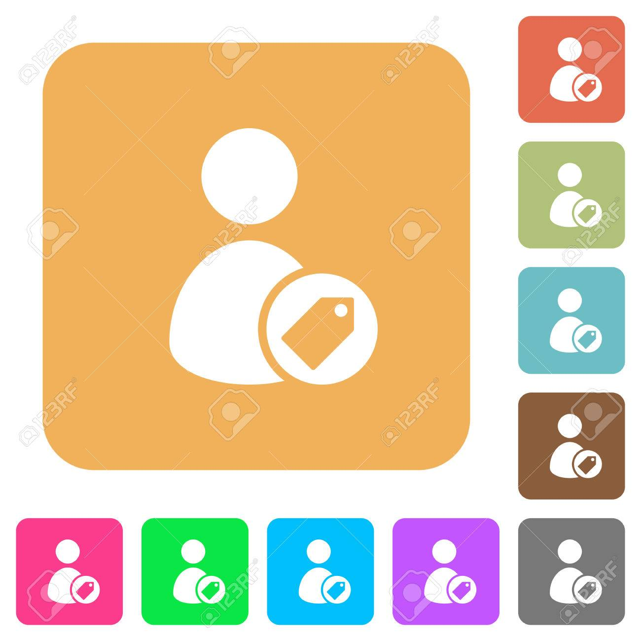 Tagging User Flat Icons On Rounded Square Vivid Color Backgrounds 1300x1300