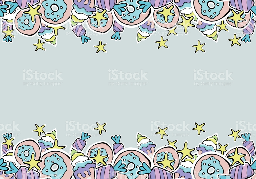Hand Drawn Vector Donuts Candy Ice Cream Stars Lollipops Seamless 1024x717