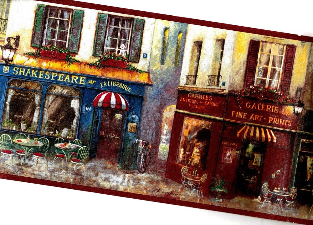 French Cafe Paris Street Wallpaper Border AW77390B eBay 1000x718