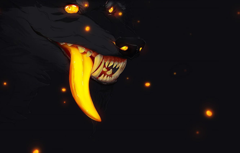 Wallpaper fireflies fear darkness wolf mouth fangs werewolf 1332x850