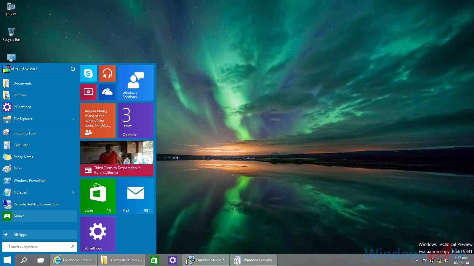 Windows 10 Technical Preview Walkthrough of Start Menu multi 1600x900