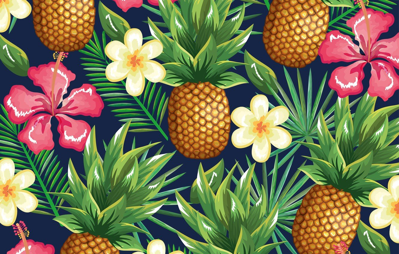 Wallpaper flowers background pineapple flowers pattern 1332x850