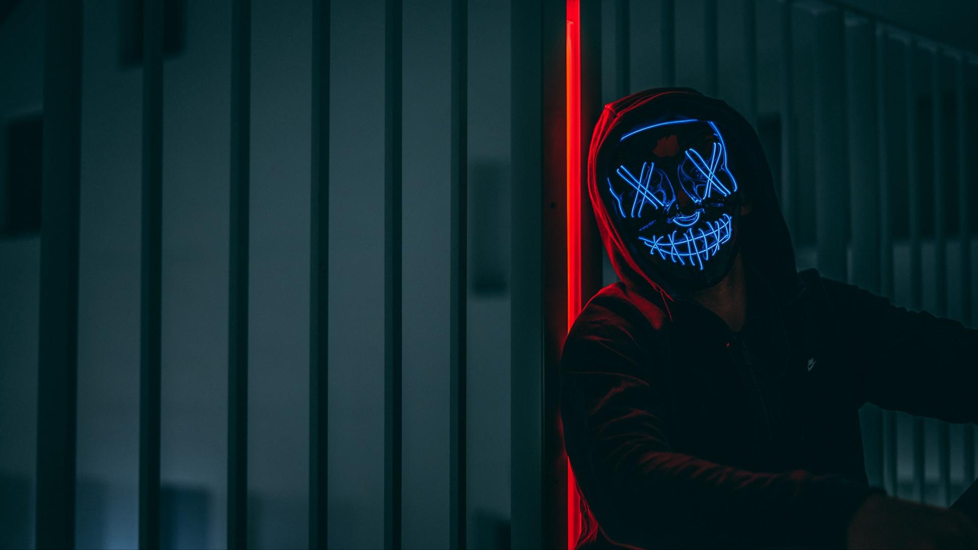Download wallpaper 1920x1080 mask hood neon anonymous glow 1920x1080