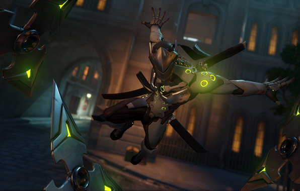 Wallpaper genji overwatch blizzard genji shimada warrior mask 596x380