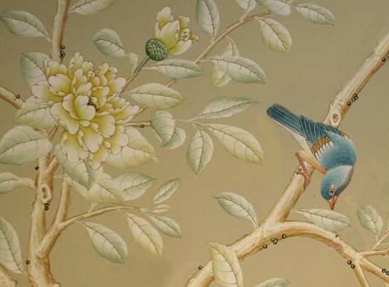hand painted wallpaper chinoiserie wallpaper silk wallpaper 546x403