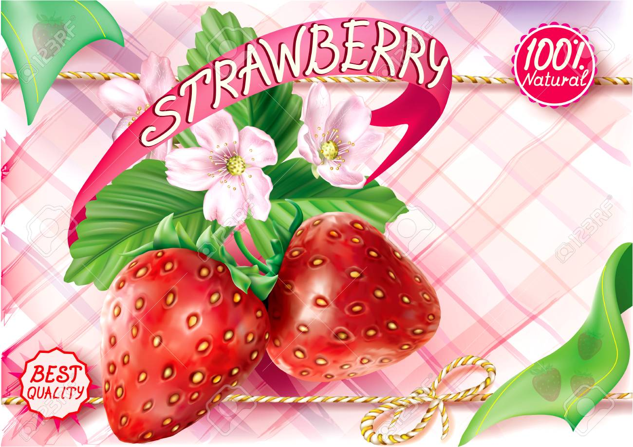 Strawberry Fruits With Leaves And Flower On A Pink Motley 1300x917