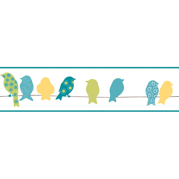 Green Bird On A Wire Border   Wall Sticker Outlet 600x600