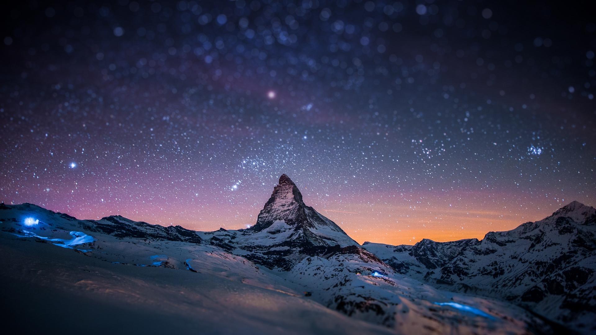 Free Download Mountain Peak Stars Sky Night Light Snow Full Hd