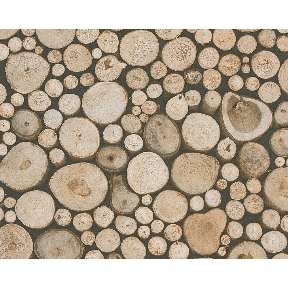 Creation Wood Logs Pattern Cabin Textured Non Woven Wallpaper 958361 1000x1000