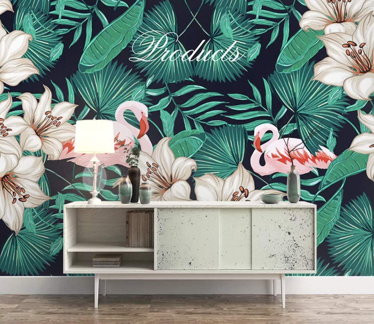 Free Download Amazoncom Murwall Flamingo Wallpaper Leaf Wall Mural