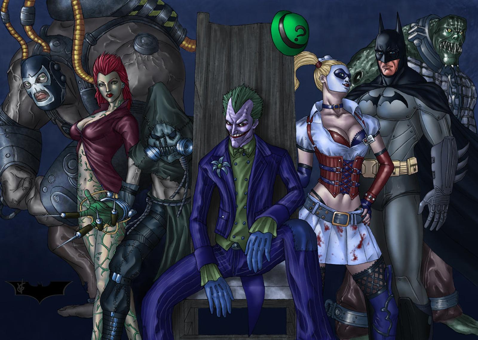 joker harley quinn scarecrow poison ivy batman arkham asylum wallpaper 1600x1139