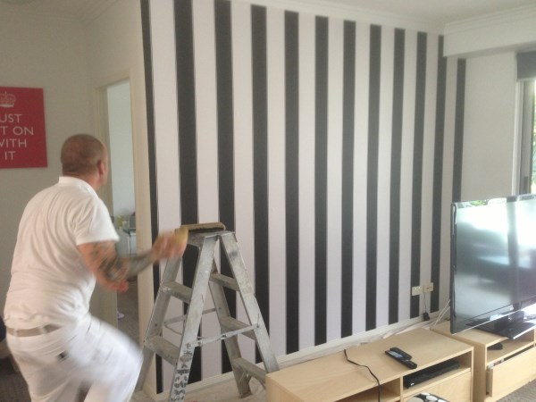 Black and White Striped Wallpaper Used By Bec and George   The Block 600x450