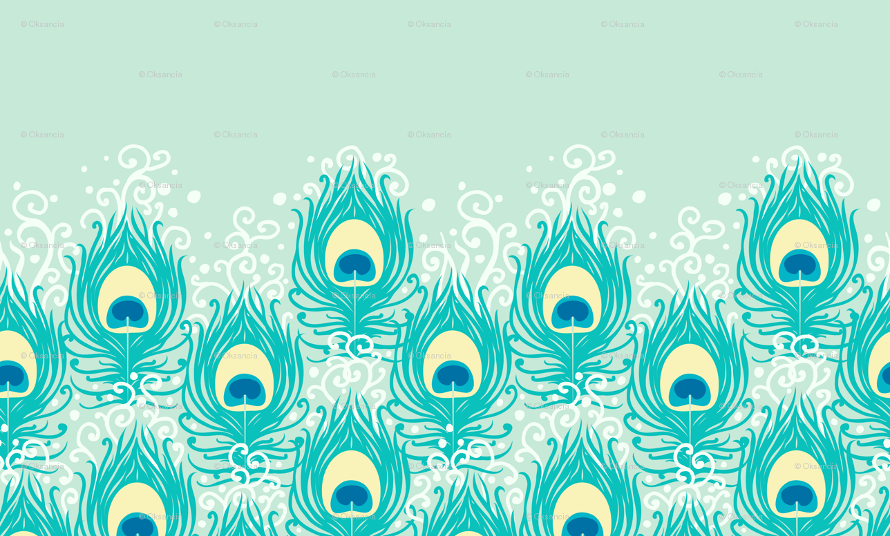Peacock feathers matching border wallpaper   oksancia   Spoonflower 1288x776