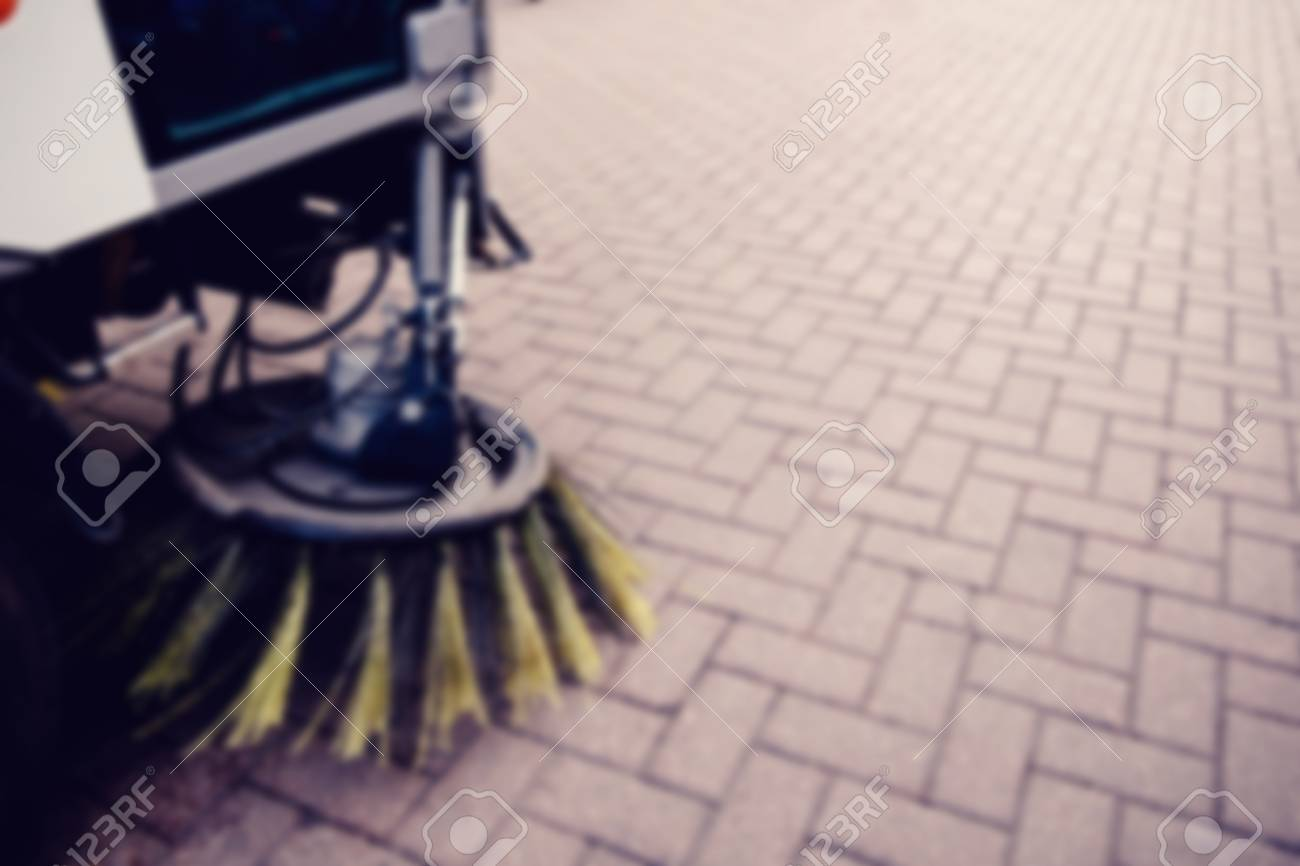 Blurred Background Unfocus Street Sweeper Machine Cleaning The 1300x866