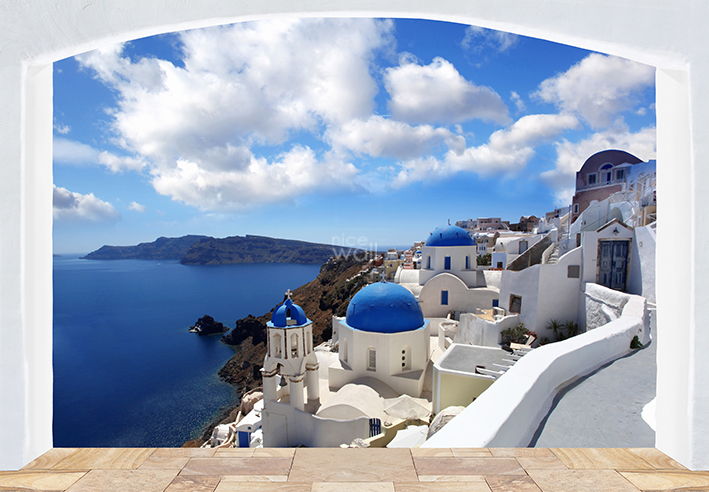 Large Wall Mural Photo Wallpaper for Bedroom or Living Room Santorini 709x492