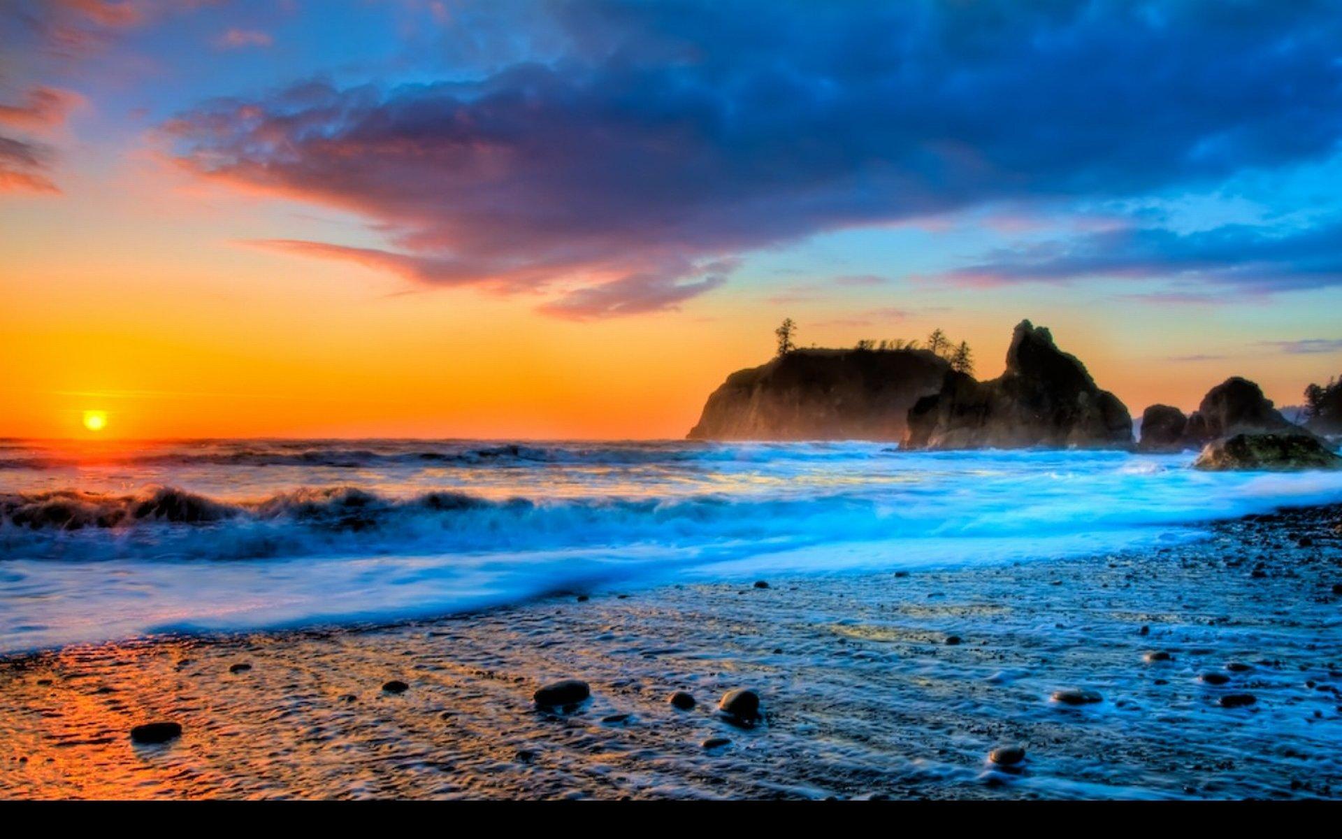 Sunset Beach Wallpaper HD Widescreen 1920x1200